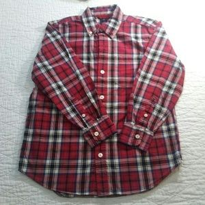 Gap Kids Boys Red Plaid Button Down Sz M (8) EUC